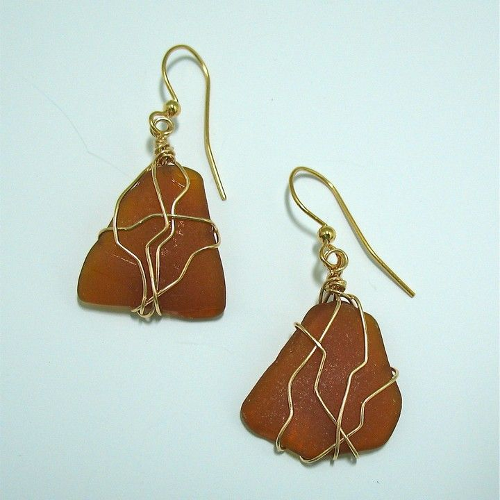 Wire Wrap #Amber #Seaglass #Earrings from ODONATA SEAGLASS CREATIONS BY EILEEN CLARK for $38.00