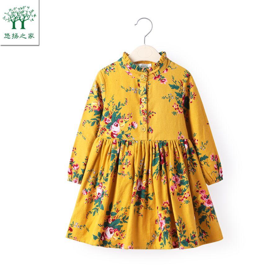 47aa801ed745c Cute Baby Cotton long sleeve yellow Girls Dresses   Girls Clothing ...