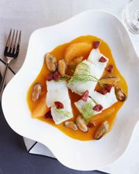 Olive Oil-Poached Cod with Mussels, Orange and Chorizo Recipe from Food & Wine