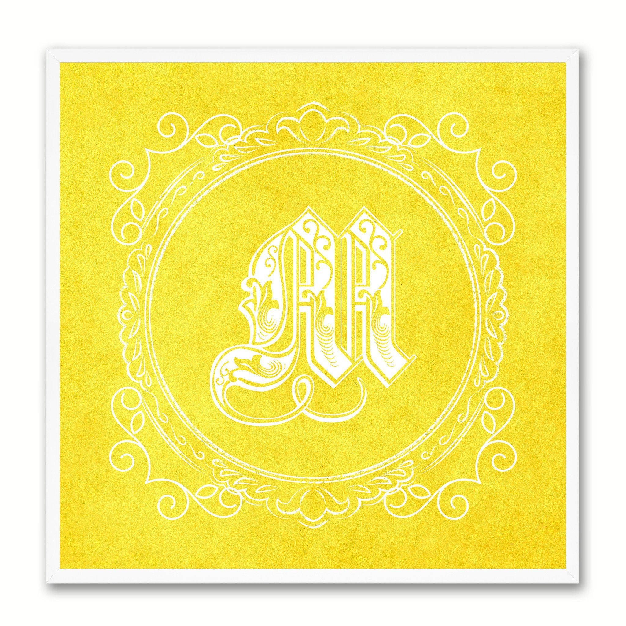 Alphabet Letter M Yellow Canvas Print Black Frame Kids Bedroom Wall ...