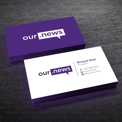 Design A Unique Business Card For A Company Battling Fake News Our News Is A Social Media Platform Aimed At Giv Unique Business Cards Card Design Personal Logo