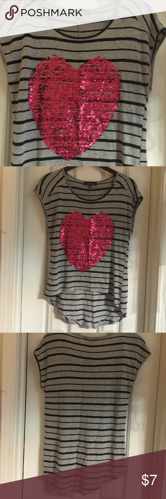 Be Still My Heart Almost Famous Sequined Heart Shirt. Size Small. Almost Famous Tops Blouses