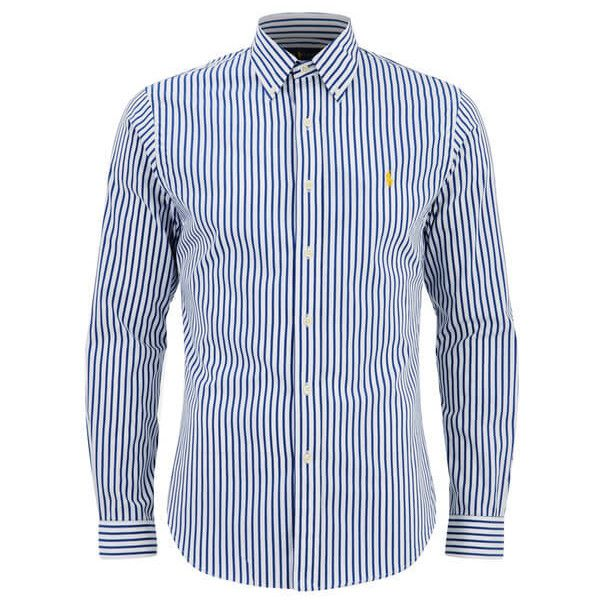 9d7f40f64663 Polo Ralph Lauren Men s Slim Fit Stripe Long Sleeve Shirt - Blue White (9280