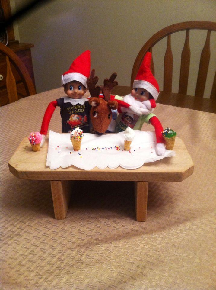 elf on shelf ice cream party