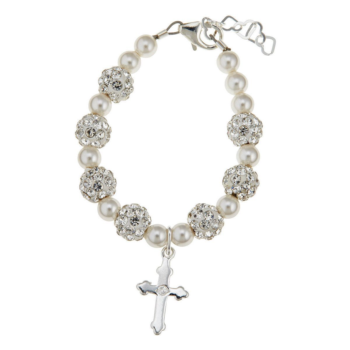 Luxury Swarovski Element Christening Cross Baby Bracelet 5 12 Years Length 6 Infant S Silver
