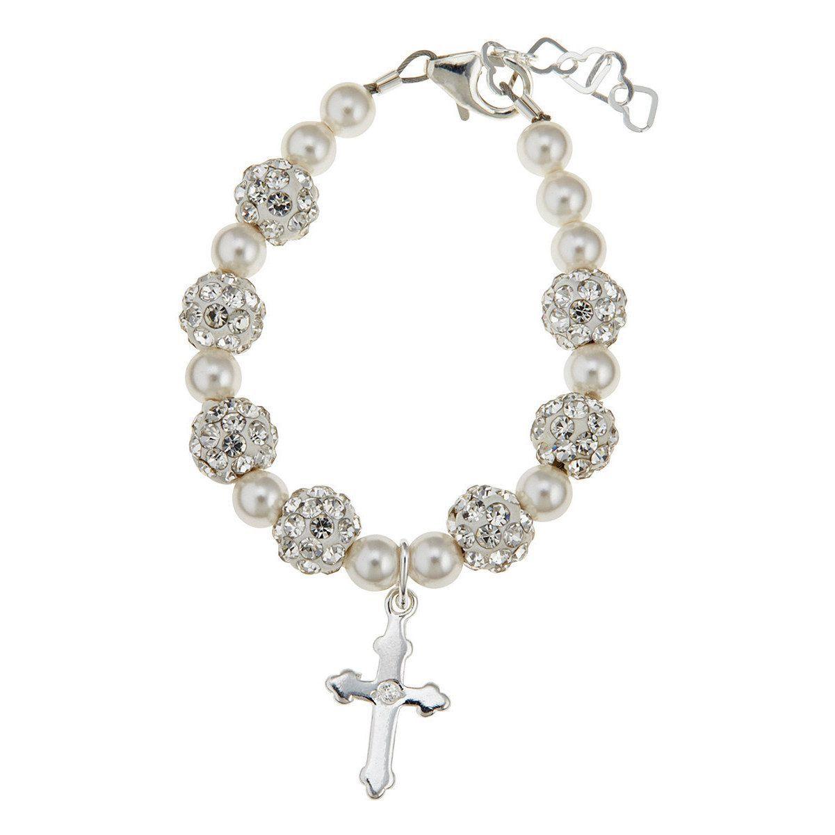 Luxury swarovski element christening cross baby bracelet size