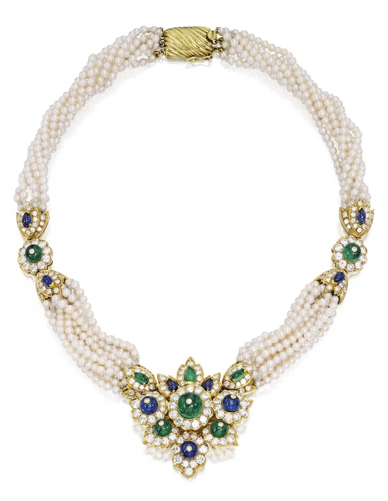 karat gold cultured pearl diamond emerald and sapphire