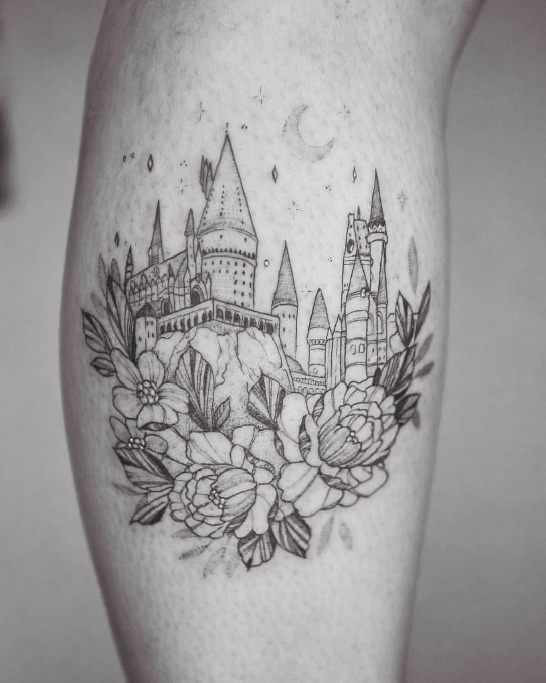 1 988 Likes 38 Comments Phoebe Hunter Phoebej Tattoos On Instagram Hogwarts Castle Done For A Hogwarts Tattoo Harry Potter Tattoo Harry Potter Tattoos