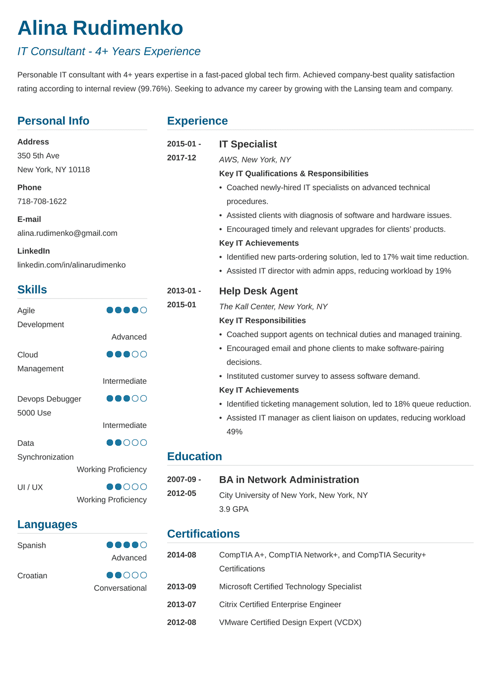it resume template simple in 2020 Resume examples