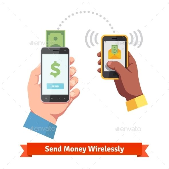 People Sending and Receiving Money with Smartphone Send