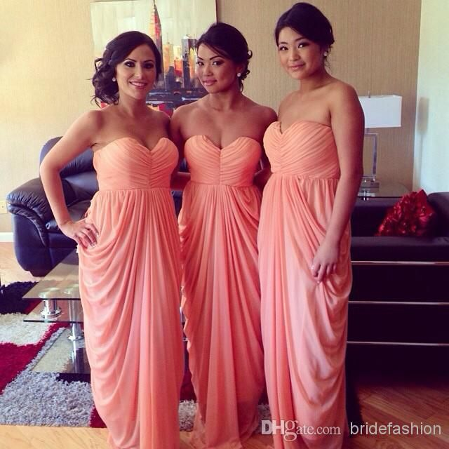 Hot pink Coral Bridesmaid Dresses Sweetheart Floor Length Chiffon ...