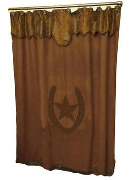 M F Western Brown Star And Horseshoe Shower Curtain 61216 Western Shower Curtain Western Bathroom Decor Western Home Decor