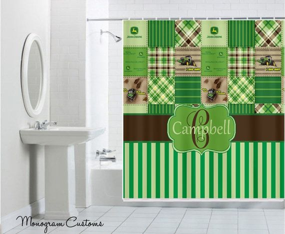 John Deere Green Patchwork Monogram For A Boys Bathroom. Cute!
