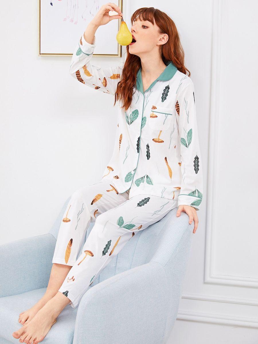 Ivory Floral Printed Women Silk Pajama Set #spring #