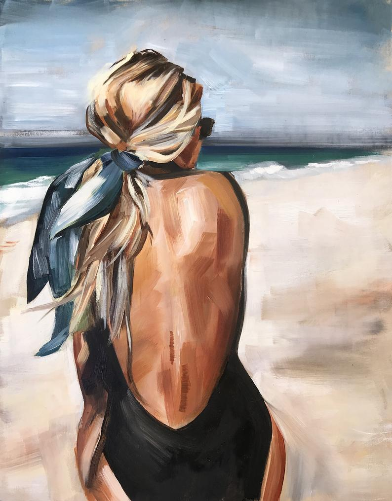 Endless Summer Oil Print, oil painting beach fashion portrait