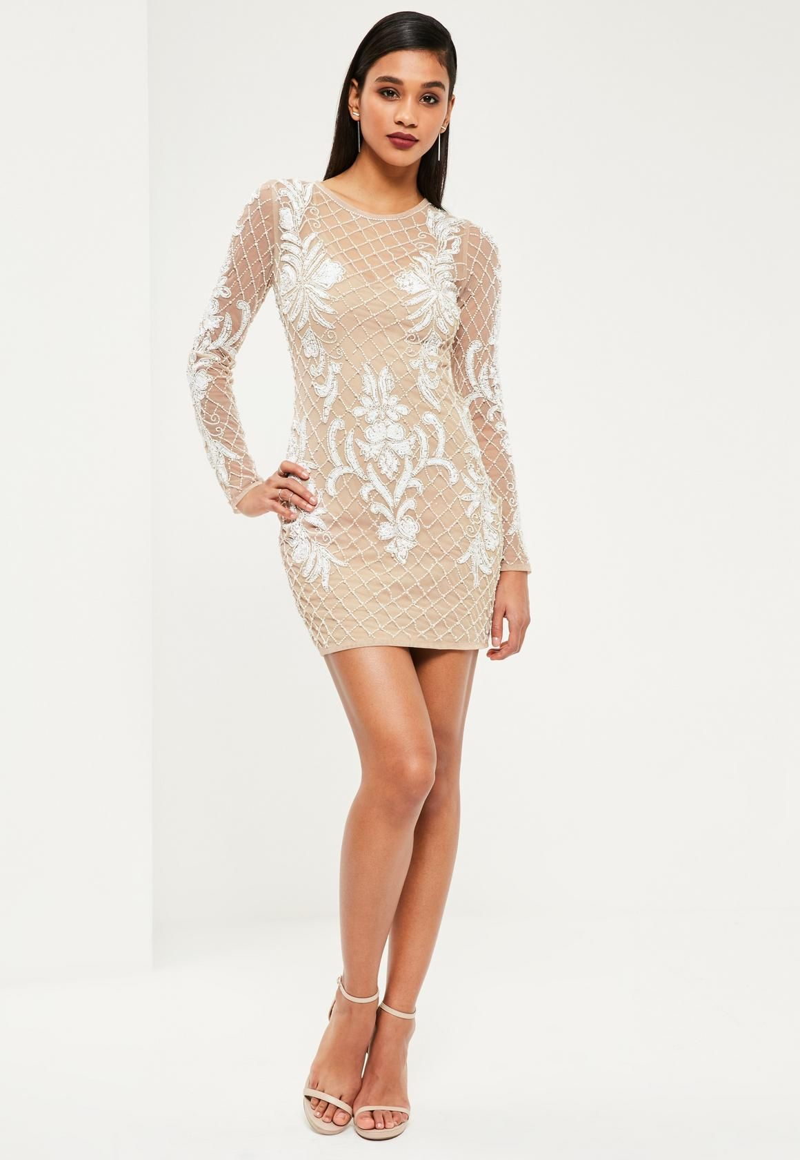 1a37eb6cc72 Missguided - Premium Nude Embellished Long Sleeve Bodycon Dress ...
