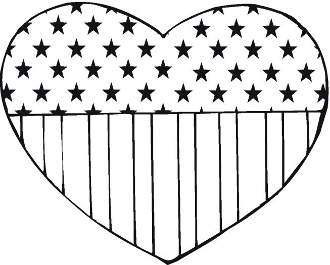Usa Flag In Heart Shape Heart Coloring Pages American Flag