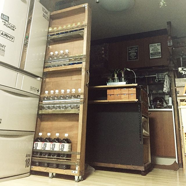 キッチン ストック収納 収納アイデア カフェ風 100均 などの