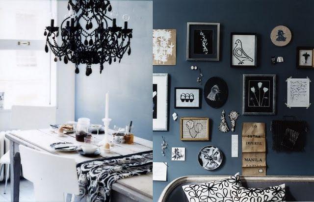 black chandelier. blue wall. black and blue together.