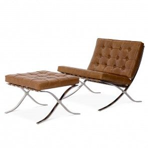 Barcelona Chair Mit Ottoman Premium Vintage Cognac Barcelona