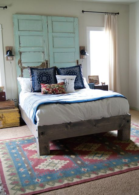 Master Bedroom Makeover After  the tour  One Room Challenge Spring 2015 is part of Old bedroom Makeover - Master Bedroom Makeover  DIY Headboard & Bed, vintage Decor, yard sale finds, salvaged wall sconces, hand sewn pillows  tour the master bedroom at Averie Lane