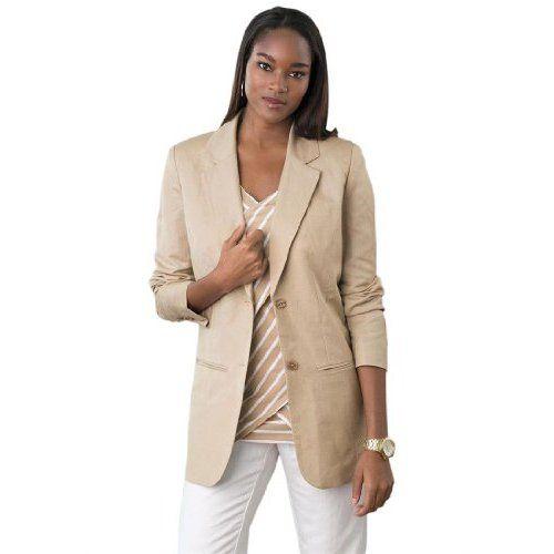 e425cfba9b47e Jessica London Women s Plus Size Single-Breasted Linen Blazer