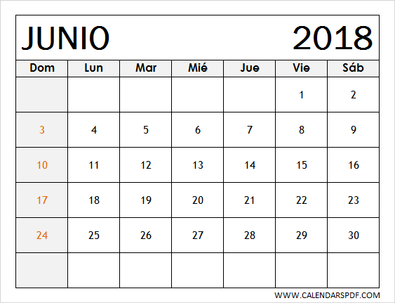 printable june 2018 calendar spanish