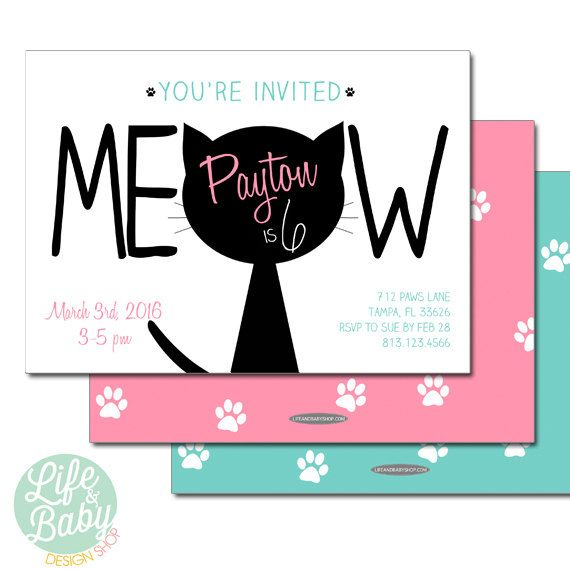 Little Miss Purrfect Vintage Kitten Birthday Party Invitations – Cat Party Invitations