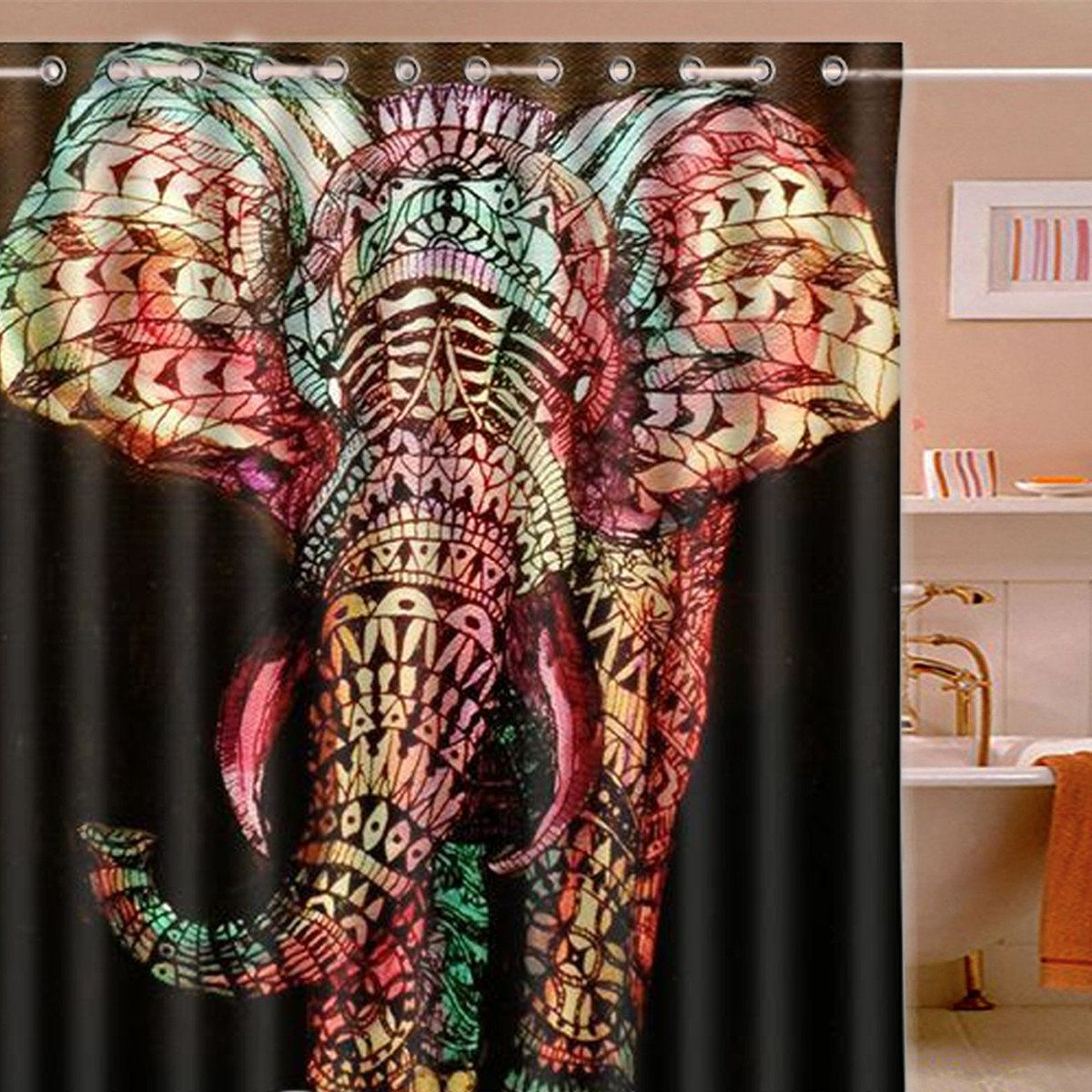 165 180cm Colorful Elephant Waterproof Printing Shower Curtain