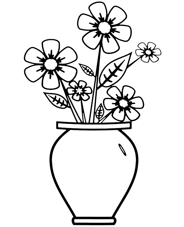 Simple Picture Of Flowers Flower Vase Drawing Flower Drawing Tutorials Flower Drawing