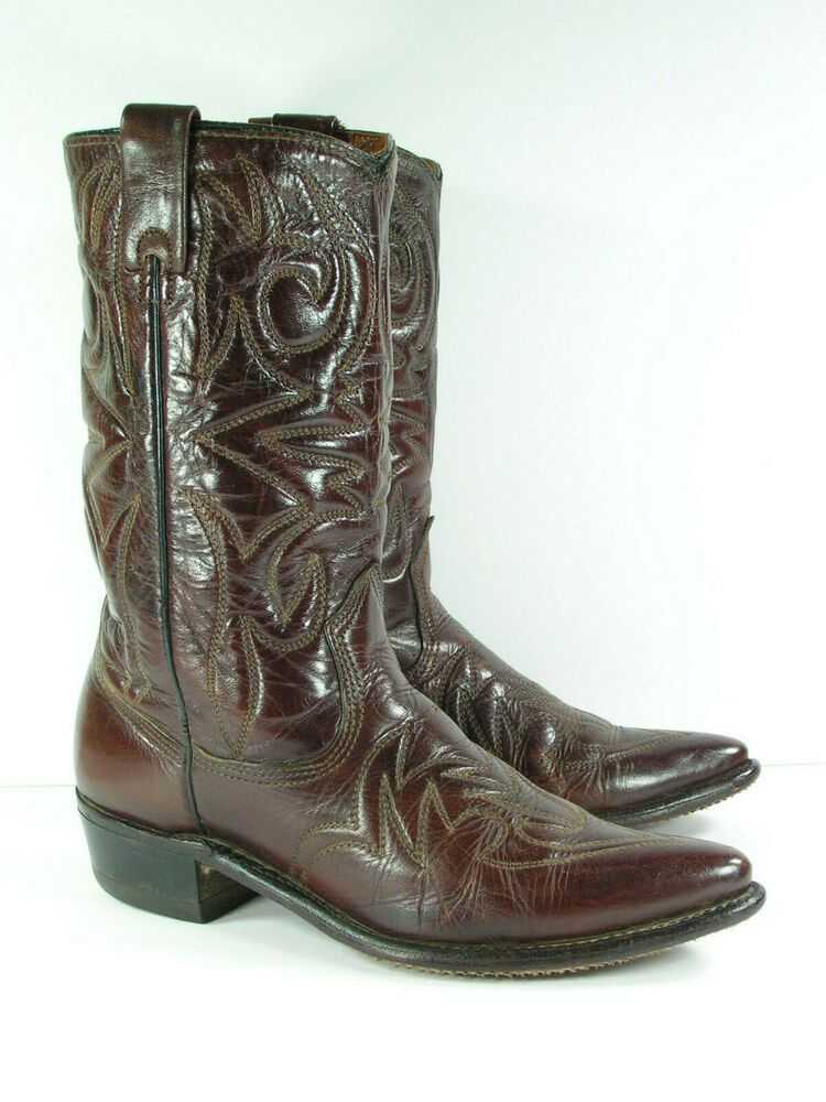 4aa56c9763307 vintage texas cowboy boots womens 8 C wide brown leather western ...