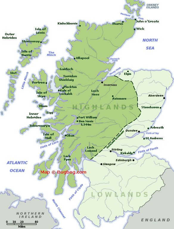 Scottish Highlands Map Containing Major Tourist Destinations In