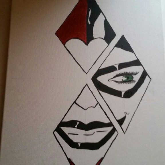 Harley quinn canvas painting drawing by me pinterest for Pictures to draw on canvas