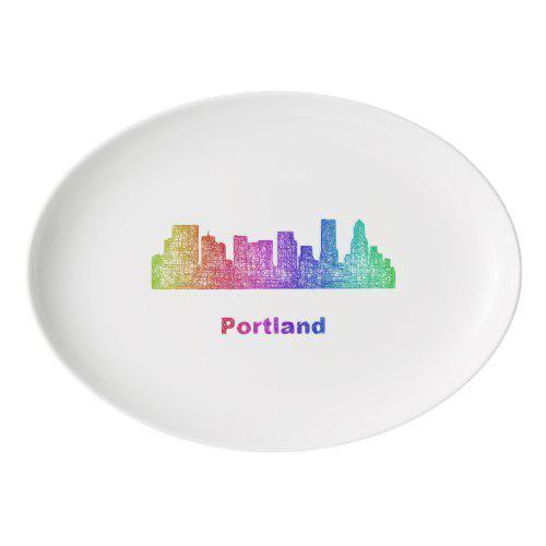 Portland Serving Platter: Rainbow Portland Skyline Porcelain Serving Platter