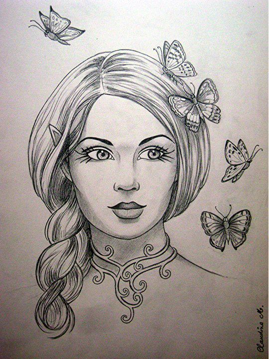 female elf with butterflies drawing elves pinterest