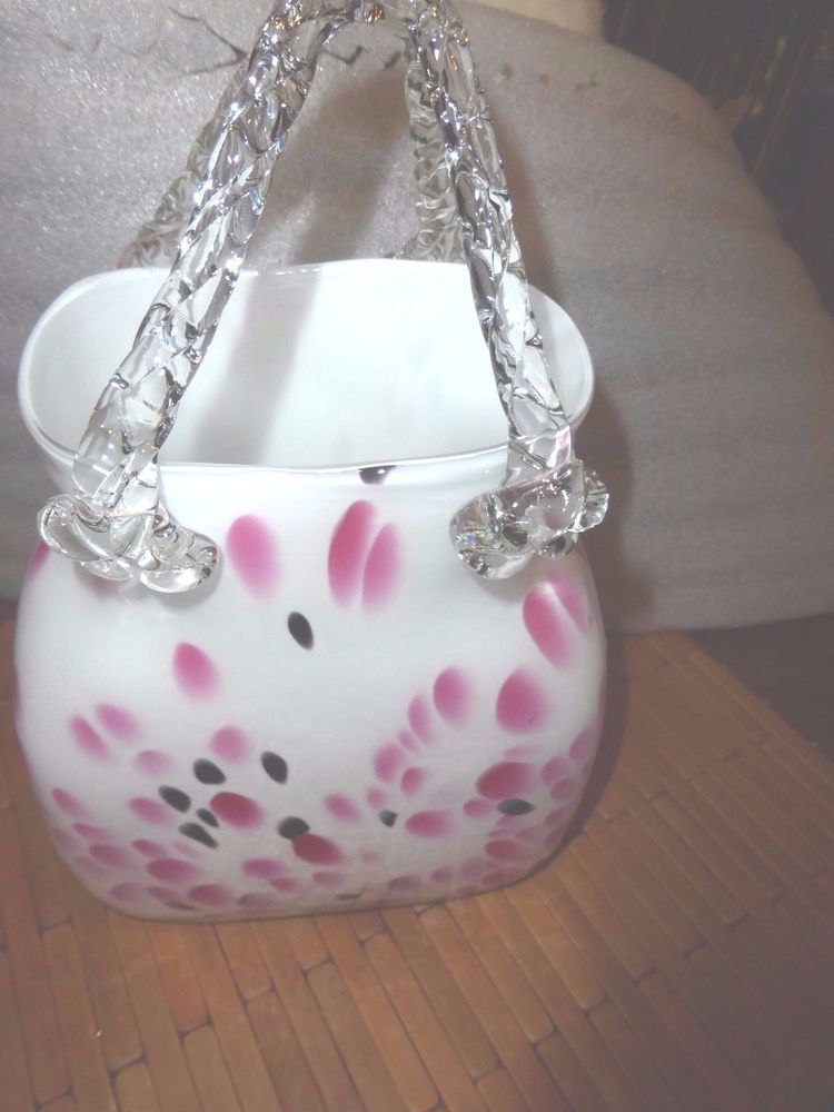 Hand Blown Art Glass Milky Pink Black Purse Handbag Flower Vase 10