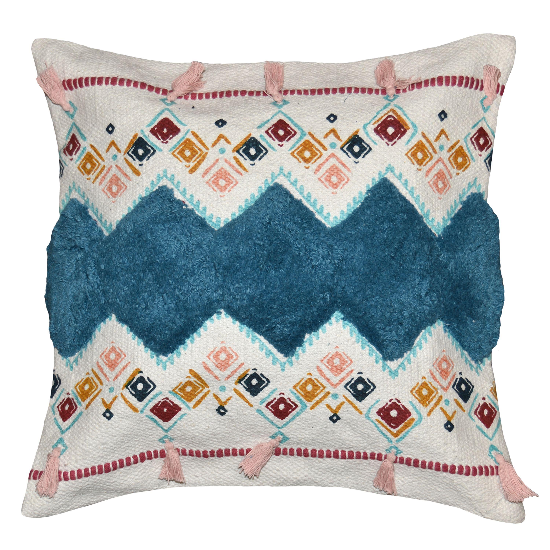 Better Homes Gardens 17 X 17 White Blue Tribal Tassels Decorative Throw Pillow Walmart Com Decorative Throw Pillows Throw Pillows Boho Throw Pillows