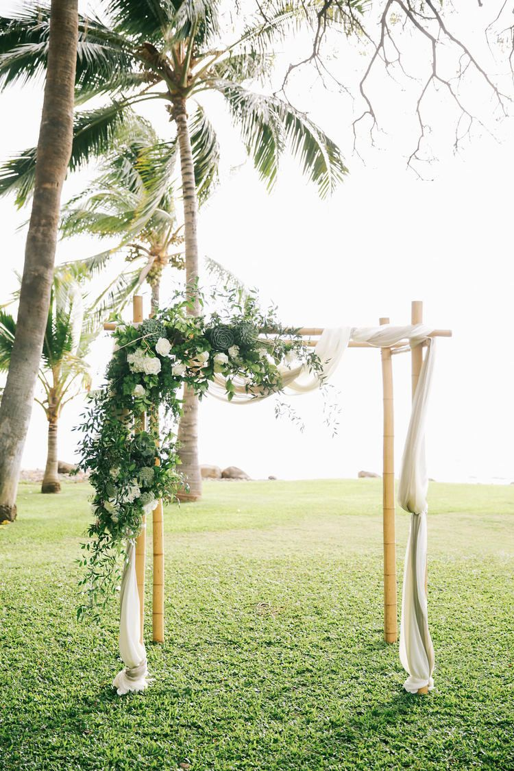Classic green and white wedding arch by WILDHEART photo: Brandon ...