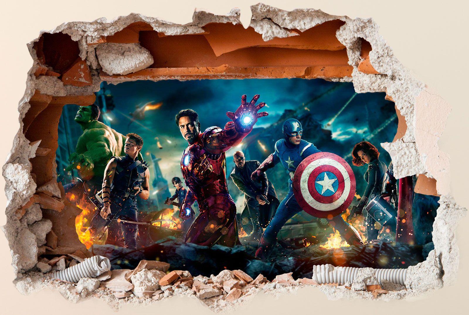 Best Marvel Avengers Wall Sticker 3D Boys Girls Bedroom Vinyl 400 x 300
