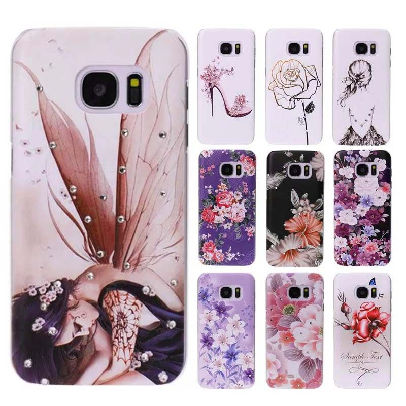 Bling Diamond Butterfly Flower Plastic Hard Case For Samsung Galaxy S7 Edge S6 A5 A7 A310 A510 Girl Phone Cover Crystal Shell