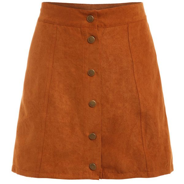 Faux Suede Buttoned Front Skirt - Khaki (230 ARS) ❤ liked on Polyvore featuring skirts, bottoms, khaki skirt, faux suede skirt, button front skirt, brown skirt and khaki knee length skirt