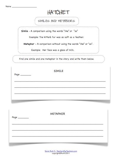Hatchet Student Worksheets Reading Classroom School Reading Teaching Language Arts