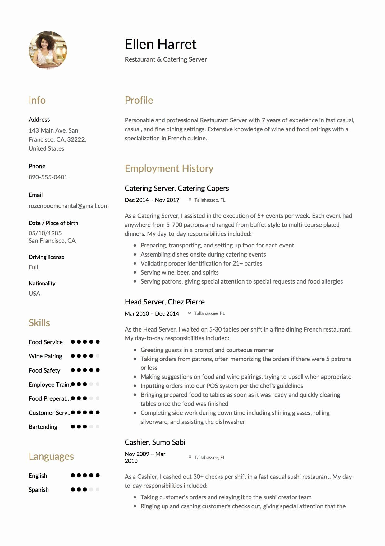 Resume Examples for Servers Best Of 12 Restaurant Server