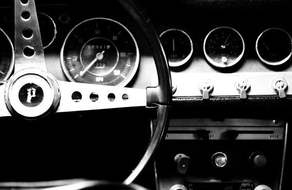 Steering Wheel Photo Black And White Classic Car Wall Art Control