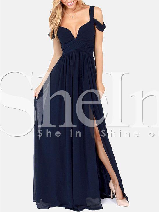 Vestido largo hombro al aire-azul marino 24.83