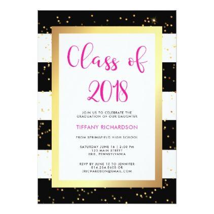 modern confetti class of 2018 graduation party invitation