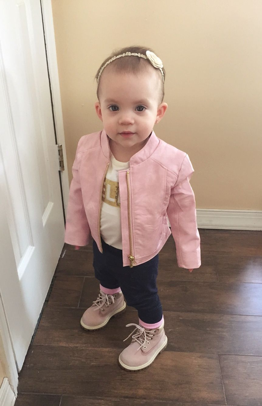 Pink leather jacket, timberland boots, baby fashion, kid fashion ...