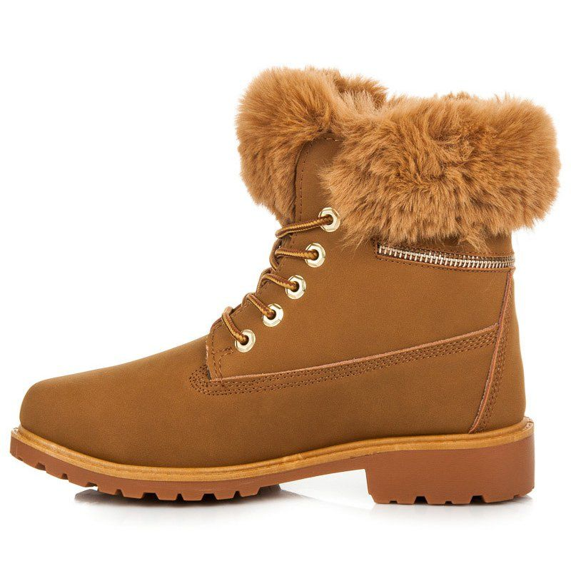 Traperki Z Futerkiem Na Cholewce Brazowe Boots Shoes Timberland Boots