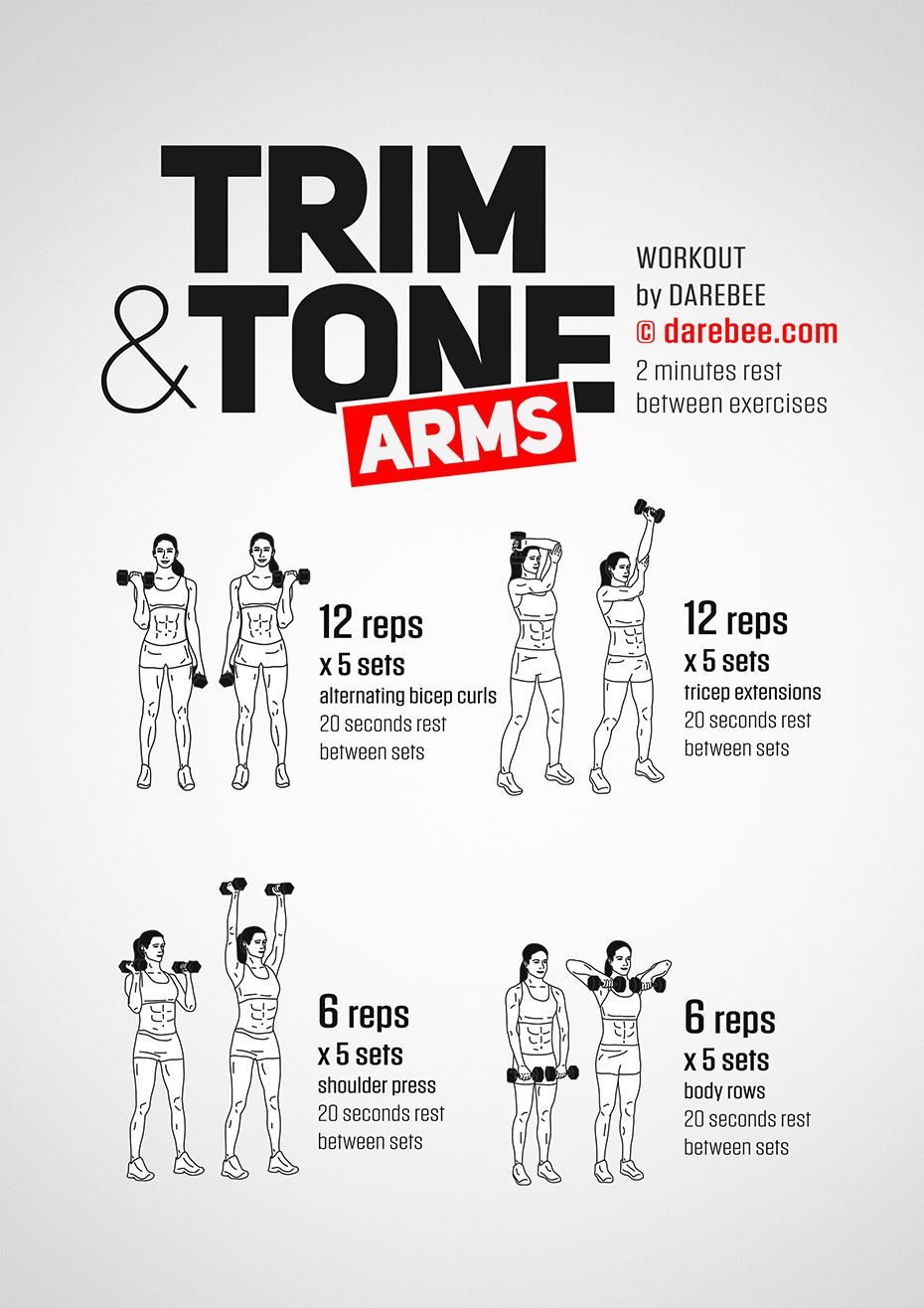Trim & Tone Arms Workout by DAREBEE #darebee #workout #arms #armworkout #exercis…