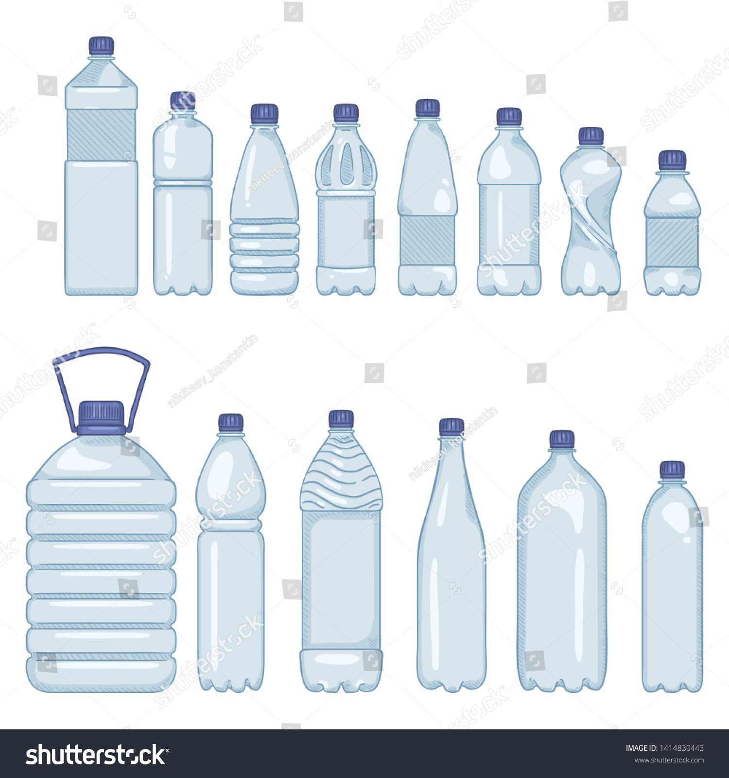 Vector Set Of Cartoon Plastic Bottles Of Water On Isolated White Background Ad Ad Cartoon Plastic Vecto Plastic Bottles Water Bottle Graphics Inspiration